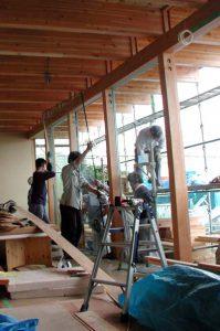 大型ガラス取付け作業